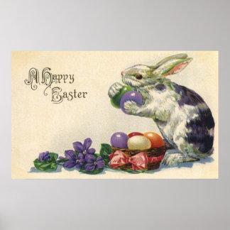 Poster Oeufs de pâques vintages et lapin de Pâques