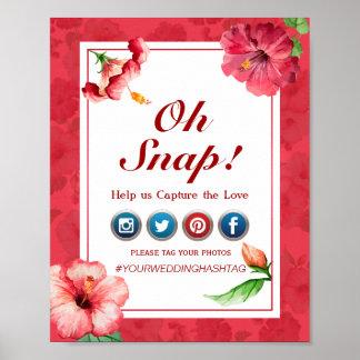 Poster Oh affiche instantanée de mariage de Hashtag -
