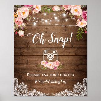 Poster Oh pays rustique instantané d'Instagram Hashtag