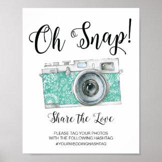 Poster Oh signe instantané de mariage de Hashtag