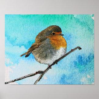 Poster Oiseau abstrait moderne de Robin sur