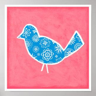 Poster Oiseau décoratif avec des motifs sur l'arrière -