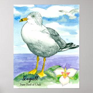 Poster Oiseau d'état d'aquarelle de mouette de l'Utah