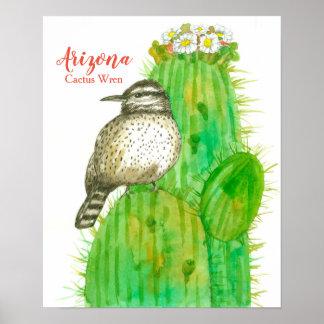 Poster Oiseau d'état de roitelet de cactus de l'Arizona