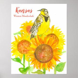 Poster Oiseau d'état de tournesol du Kansas Meadowlark
