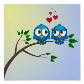 Poster Oiseaux bleus mignons dans la bande dessinée