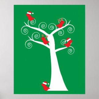 Poster Oiseaux de Noël dans un arbre