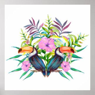 Poster Oiseaux tucan tropicaux et fleurs roses