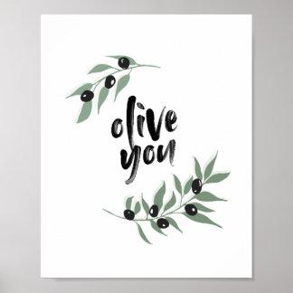 """Poster """"Olive vous"""" affiche   8x10 de branche d'olivier"""