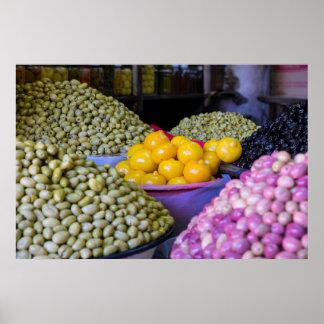 Poster Olives et citron au marché