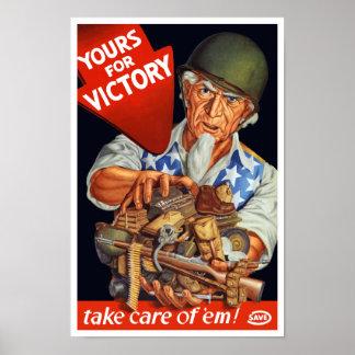 Poster Oncle Sam -- Vôtre pour la victoire -- 2ÈME GUERRE