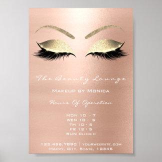 Poster Or de salon de beauté de parties scintillantes de