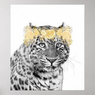 Poster Or d'humour d'amusement de couronne de fleur de