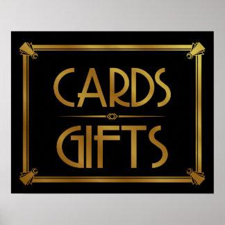 Poster OR d'impression de table de cartes et de cadeaux