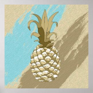 Poster Or d'ombre d'ananas et ID239 bleu