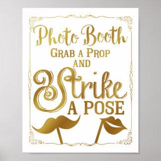 Poster Or élégant de signe de cabine de photo de selfie