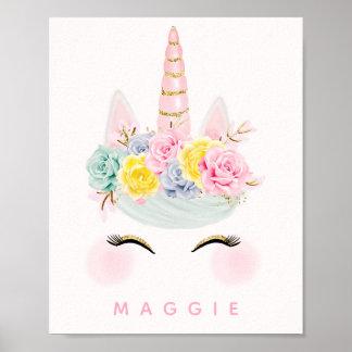 Poster Or floral Girly de rose de licorne personnalisé