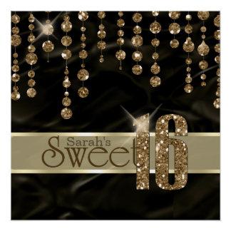 Poster Or ID260 de noir de sweet sixteen de bijou de