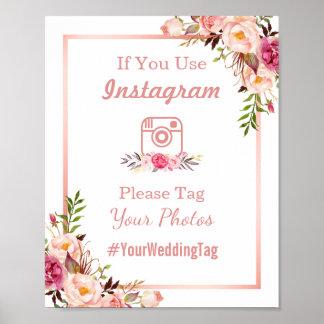 Poster Or rose chic du signe | de mariage d'Instagram
