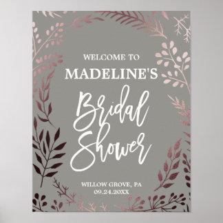 Poster Or rose élégant et accueil nuptiale gris de douche