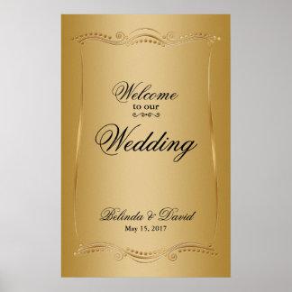 Poster Or sur la collection fleurie de mariage d'élégance
