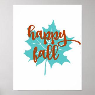 Poster Orange heureuse et Teal d'automne du feuille |