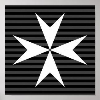 Poster Ordre blanc médiéval de la croix | de St John