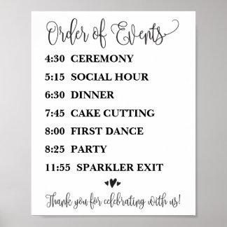 Poster Ordre de réception de mariage d'événements ou de