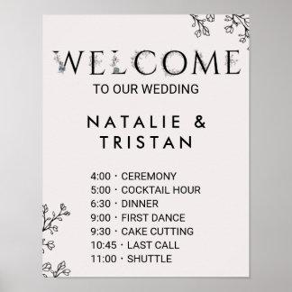 Poster Ordre floral de mariage de typographie des