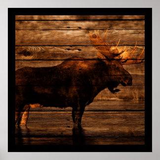 Poster orignaux en bois de taureau de faune affligés par