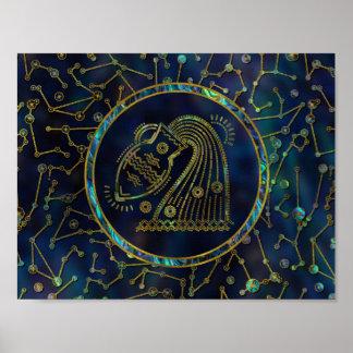 Poster Ormeau d'or de zodiaque de Verseau sur la