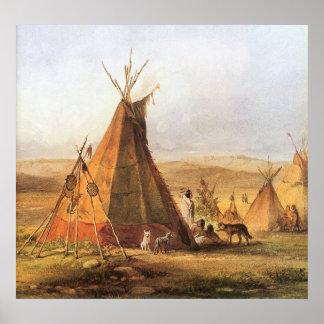 Poster Ouest américain vintage, Teepees sur la plaine par