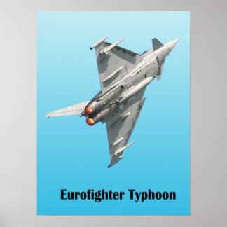 Poster Ouragan d'Eurofighter sur l'arrière - plan bleu