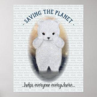 Poster Ours blanc de bébé triste