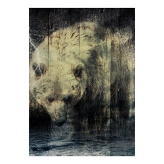 Poster Ours gris occidental primitif de région boisée de
