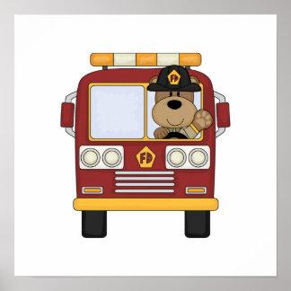 Poster Ours rouge de camion de pompiers