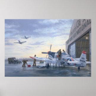 """Poster P-51 sur l'affiche 24"""" d'alerte de piste x36"""