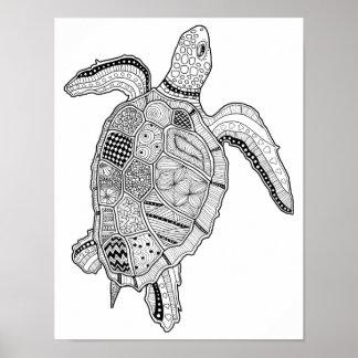 Poster Page adulte de carte de coloration de tortue de