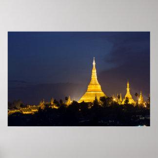 Poster Pagoda de Shwedagon la nuit