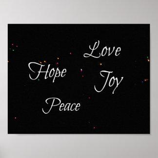 Poster Paix de joie d'amour d'espoir