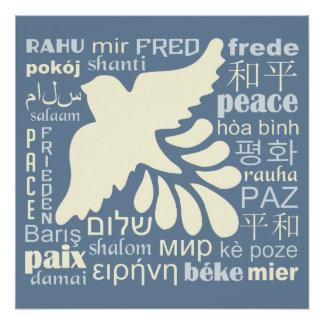 Poster PAIX en affiche de beaucoup de langues