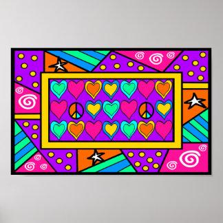 Poster Paix et amour de patchwork