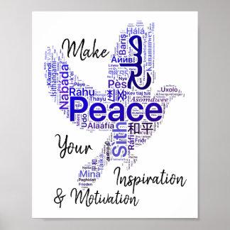 Poster Paix inspirée de citation d'art de mot de colombe