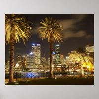 Palmiers et CBD la nuit, Sydney, nouveau sud