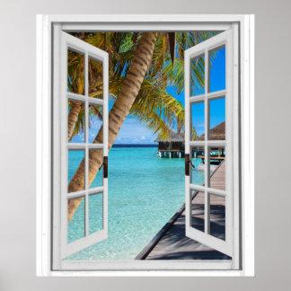 Poster Palmiers et fenêtre de Faux de vue d'océan