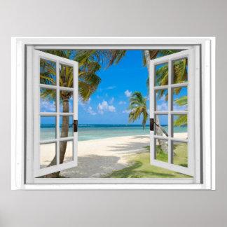Poster Palmiers sur la fenêtre de faux de vue d'océan de