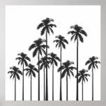 Poster Palmiers tropicaux exotiques noirs et blancs