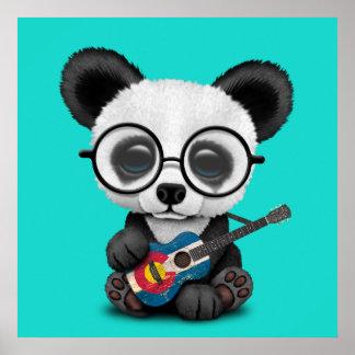 Poster Panda de bébé jouant la guitare de drapeau du
