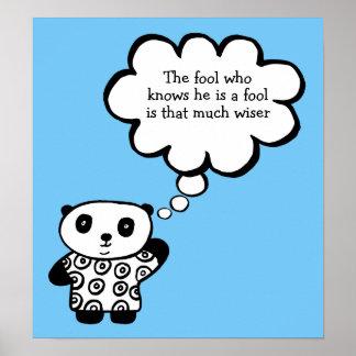 Poster Pandy la citation bouddhiste d'imbécile de panda