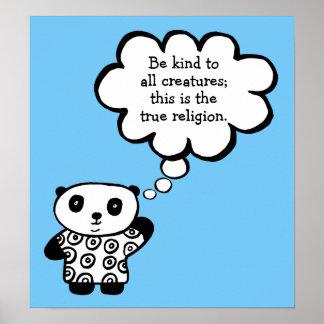 Poster Pandy le bouddhiste de panda soit citation aimable